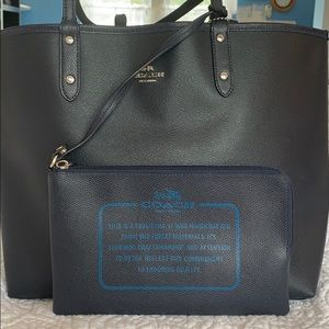 Navy COACH Tote with wristlet